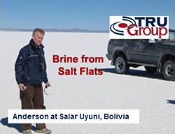 Lithium brine from salar salt lake Uyuni Bolivia